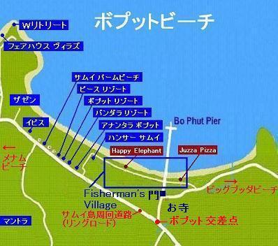 ボプットビーチの地図
