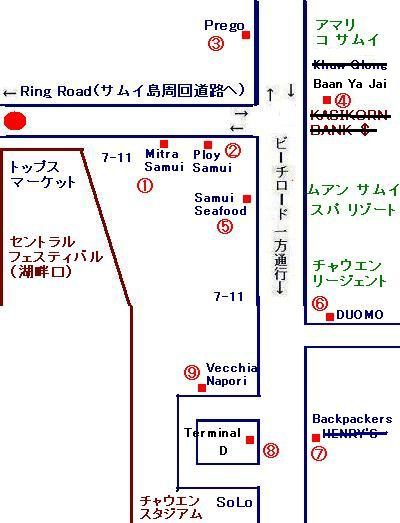 サムイ島チャウエンビーチのレストラン地図