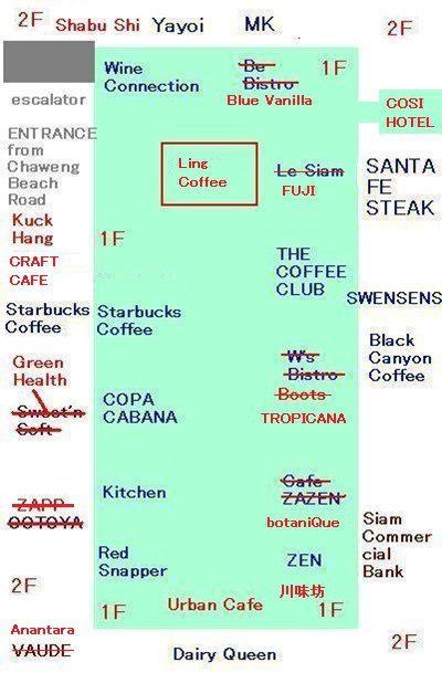 セントラルフェスティバルサムイのレストラン街の地図