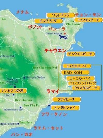 サムイ島の峠の観光地の地図